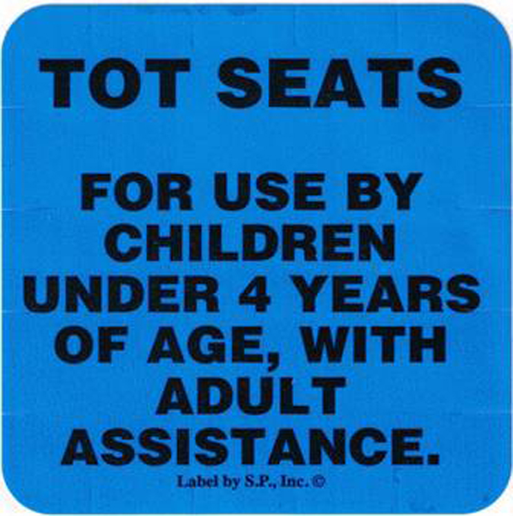 Tot Seat Labels (Specify English or Spanish)