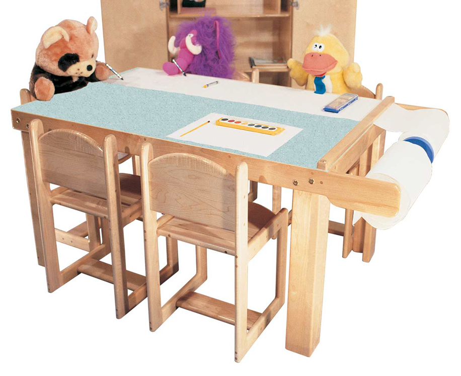 Deluxe Art Table for 9 with Paper Dispenser and Laminate Top, 80