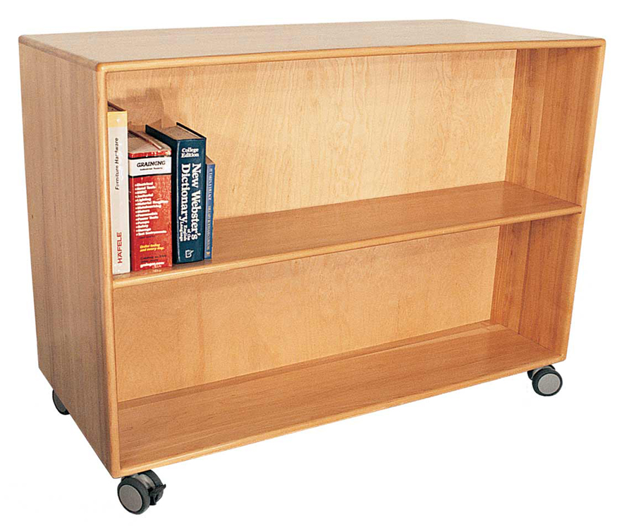 Deluxe Mobile Doublefaced Bookcase - 3 Shelves, 42''High
