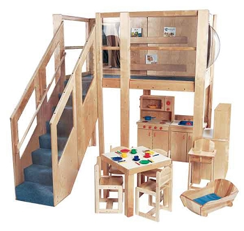 Deluxe School Age Explorer 5 Expanded Loft, 133''w x 111''d x 105''h. Deck is 120''w x 60''d x 60''h (Non-Expanded Version Shown; Furniture Not Included)