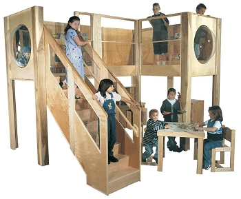 Deluxe Explorer 10 Preschool Loft, Expanded Size, 193''w x 182''d x 94''h, 52''h deck, 49''h Head Clearance (School Age Shown; Loft Only, Furniture Not Included)