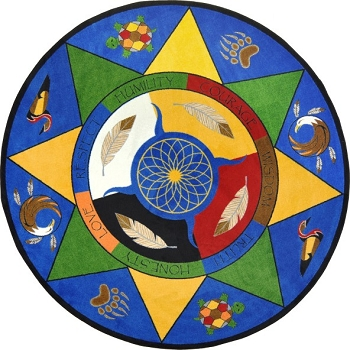 Medicine Wheel/Seven Teachings Carpet, Choice of Sizes