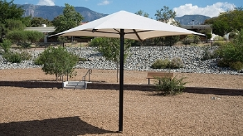 Square Umbrella with 8' Eave Height, In Ground, No Glide