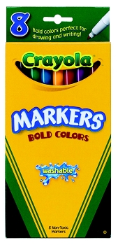 Crayola Non-Toxic Thinline Washable Marker Set - Assorted Bold Colors - Set of 8