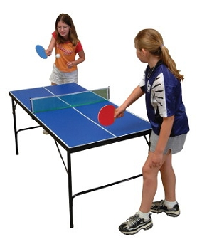 Park and Sun Mini Folding Table Tennis Table with Accessories, Blue
