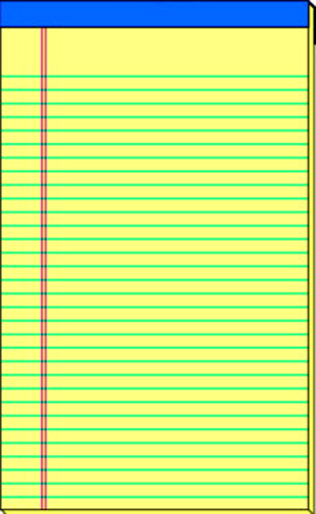 School Smart Perforated Stapled Standard Legal Pad, 50 Sheets, Sulphite Bond Paper, Canary - Pack of 12