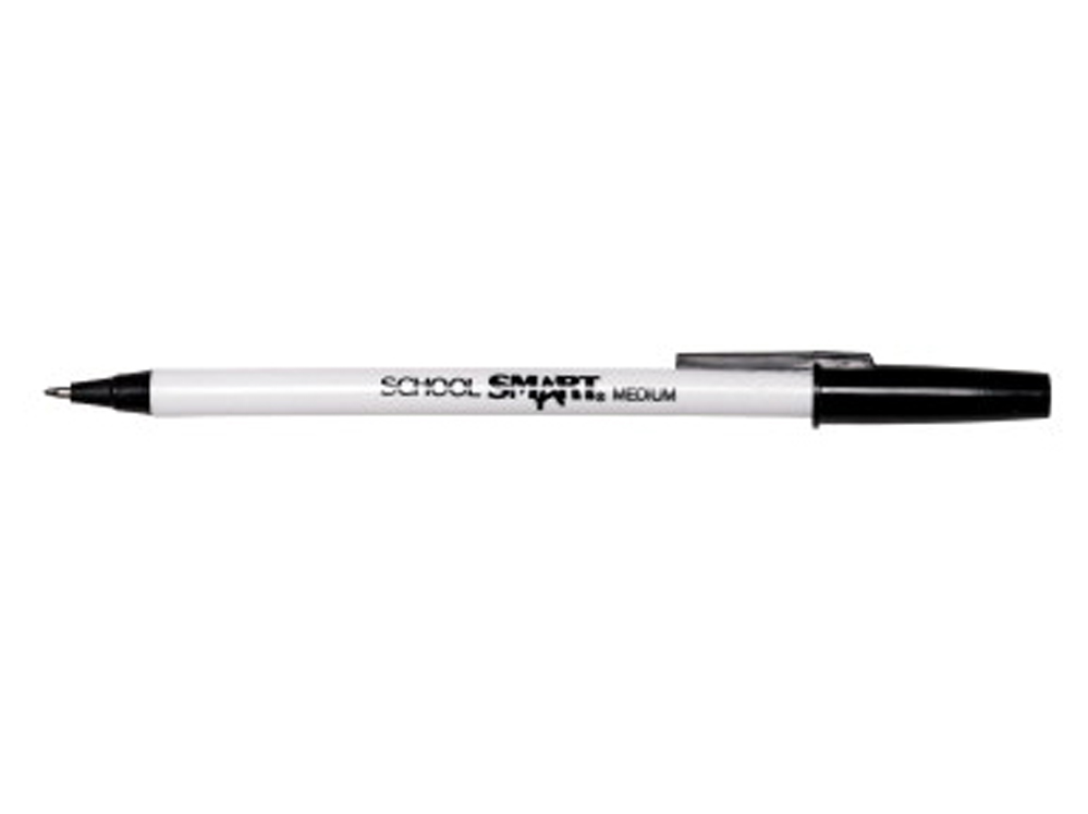 School Smart Round Refillable Stick Pen, Medium Tip, Black - Pack of 12