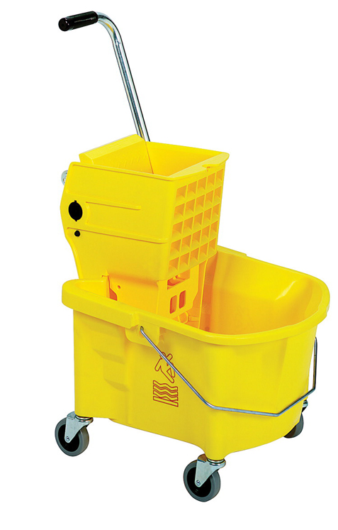 Continental Mopping Splash Guard Combo, 26 qt, Plastic, Metal Handle, Yellow