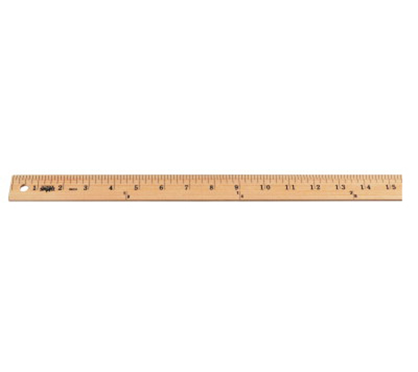 School Smart Single Beveled Plain Edge Wood Scale Ruler, Clear Lacquer