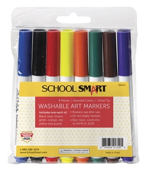 School Smart Non-Toxic Quick Dry Washable Marker, Chisel Tip - Assorted Colors - Pack of 8