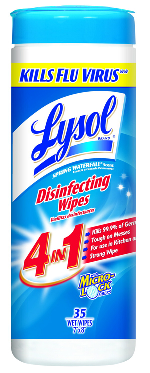 Lysol Disinfectant Sanitizing Wipe - 35 Count, Spring Waterfall Scent - Pack of 12