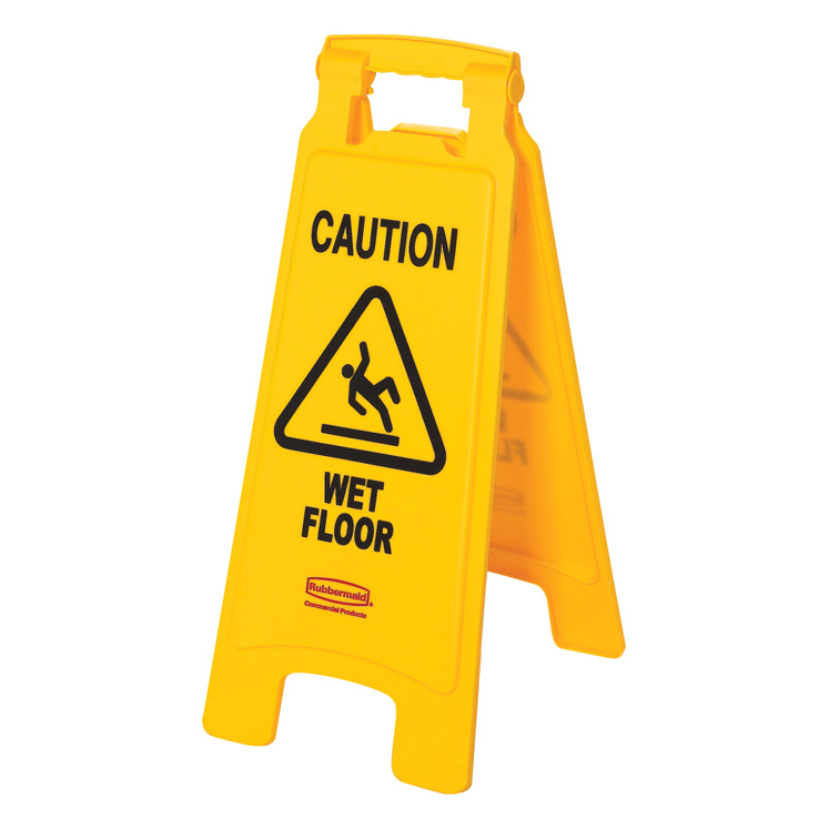 Rubbermaid Double Sided Foldable Safety Sign, Open, Caution Wet Floor, Yellow