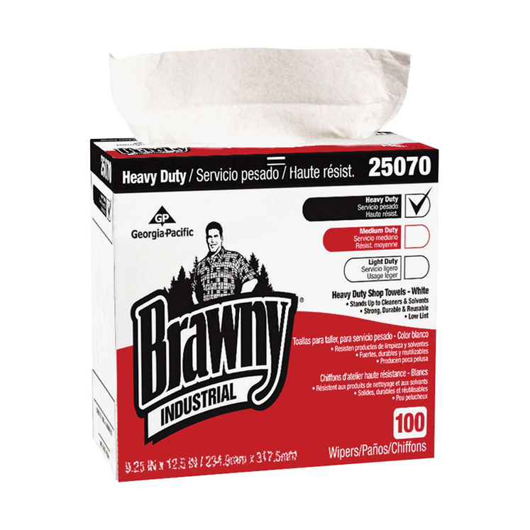 Georgia Pacific Brawny Premium Heavy Duty Industrial Wipe, Cloth, White - Pack of 100