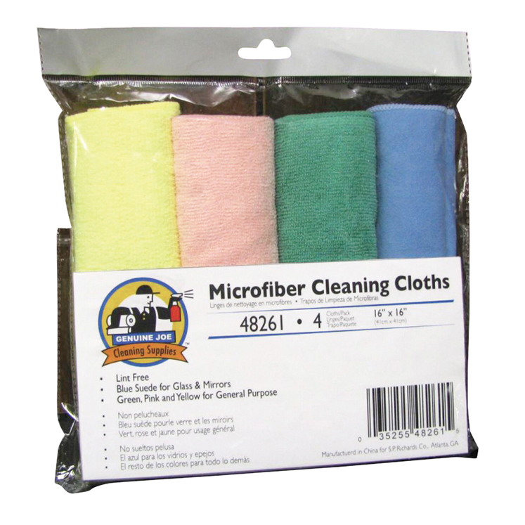 Genuine Joe General Purpose Microfiber Cleaning Cloth - Assorted Colors - Pack of 4