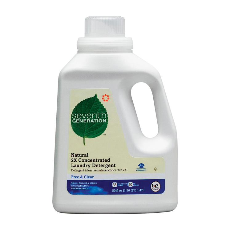 Concentrated Liquid Biodegradable Non-Toxic Natural Laundry Detergent, 50 oz/33 Standard/50 HE Loads, Free and Clear Scent