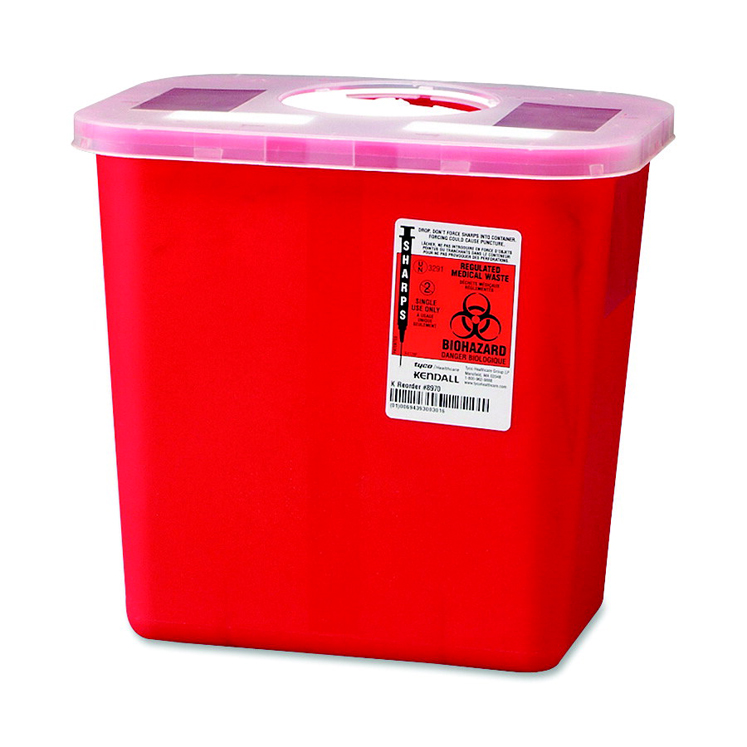 Unimed Kendall Sharps Biohazard Container, 2 Gallon - Lid & Size Options