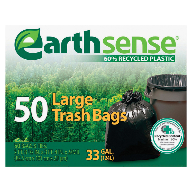 Webster Industries Earth Sense Recycled Trash Bag - Select Size