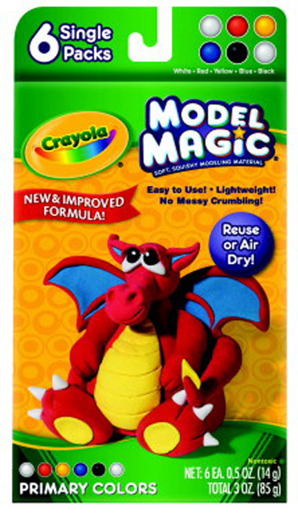 Crayola Model Magic Non-Toxic Modeling Dough Set, 3 oz - Assorted Primary Color - Set of 6