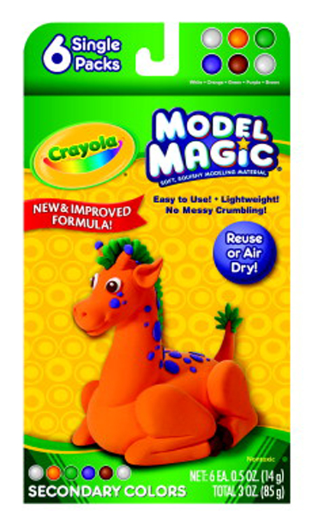 Crayola Model Magic Non-Toxic Modeling Dough Set, 3 oz - Assorted Secondary Color - Set of 6