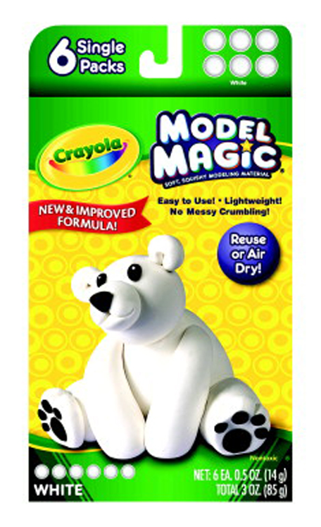 Crayola Model Magic Non-Toxic Modeling Dough Set, 3 oz, White - Set of 6