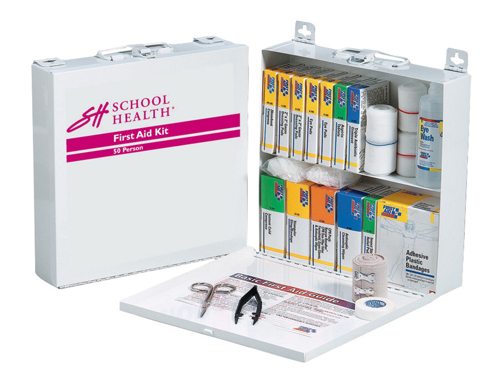 School Health 196-Piece First Aid Kit for 50 Persons, Metal Case