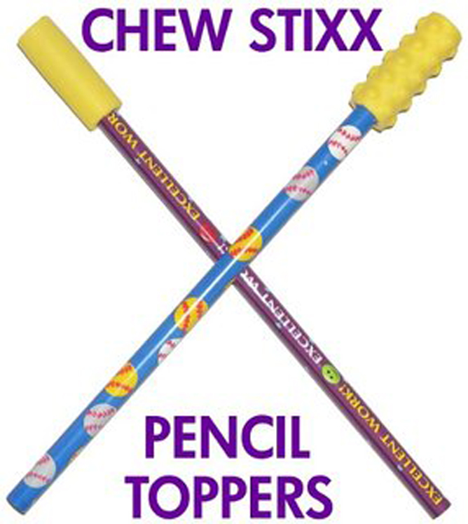 Oral Motor Chew Stixx Pencil Toppers - Smooth and Textured - Set of 2 - Yellow