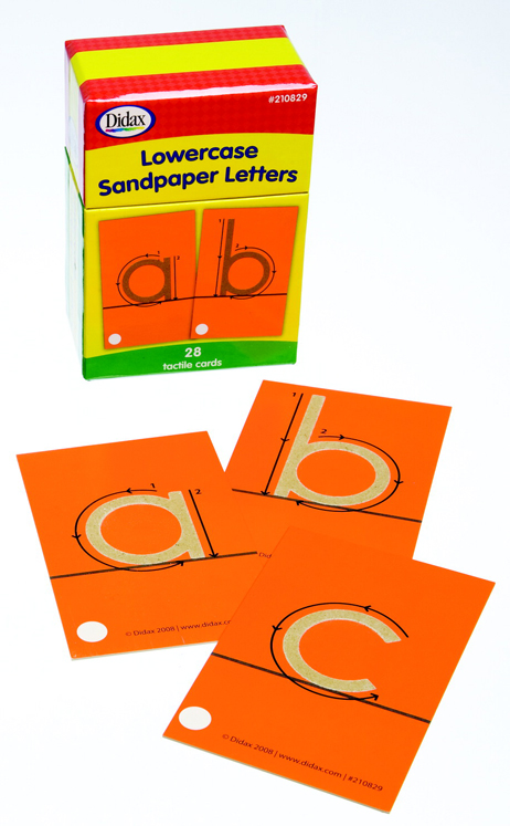 Didax Special Needs Fine Lowercase Tactile Sandpaper Letter Set, Yellow - Set of 26