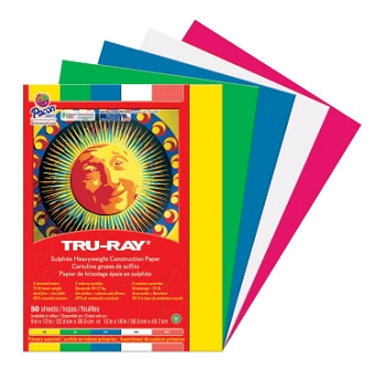 Tru-Ray Pacon 100% Vat Dyed Sulphite Acid-Free Non-Toxic Construction Paper - Select Size - Assorted Primary or Pastel Color - Pack of 50