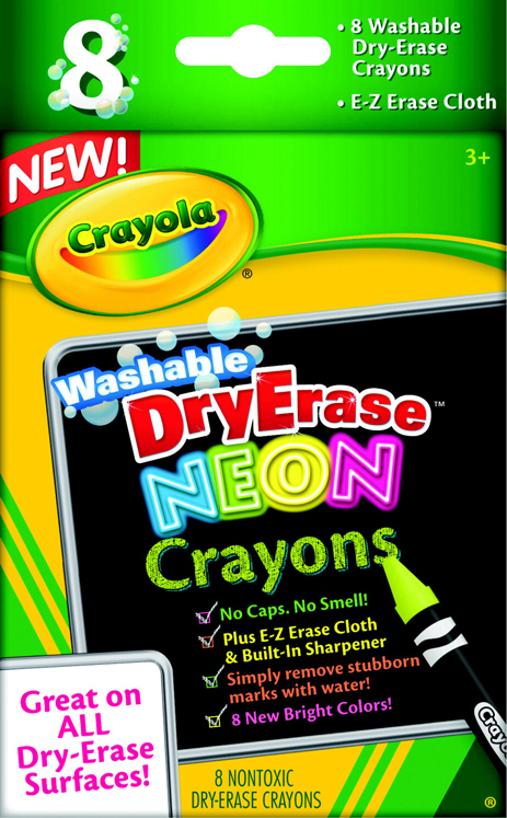 Crayola Dry-Erase Washable Crayon Marker Set - Assorted Neon Color - Set of 8