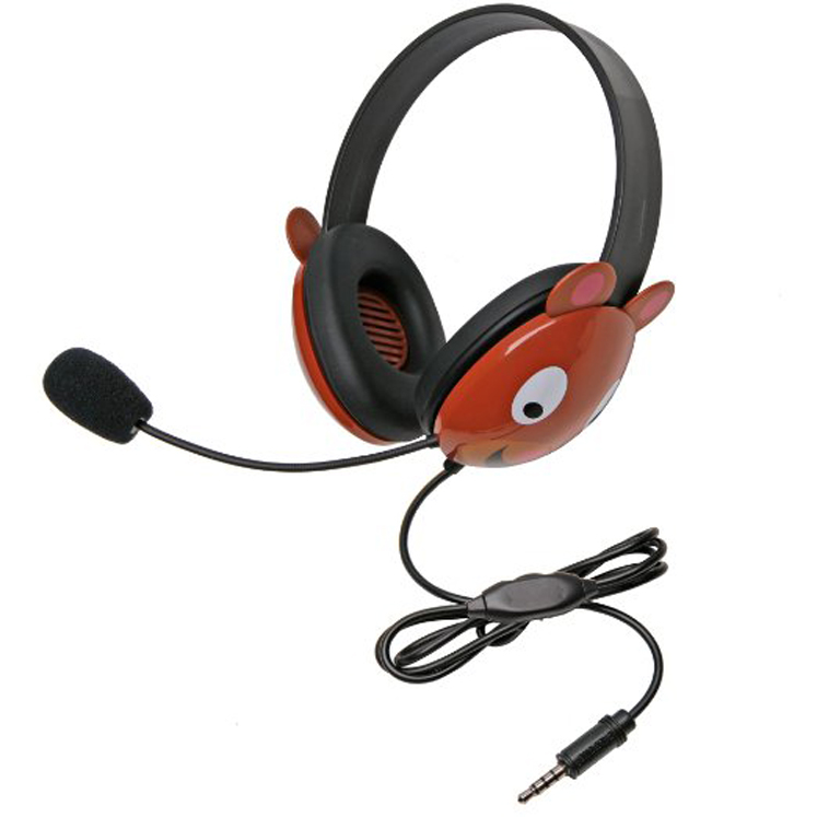 Califone 2810-TBE Listening First Bear Theme Stereo Headset with To Go Plug