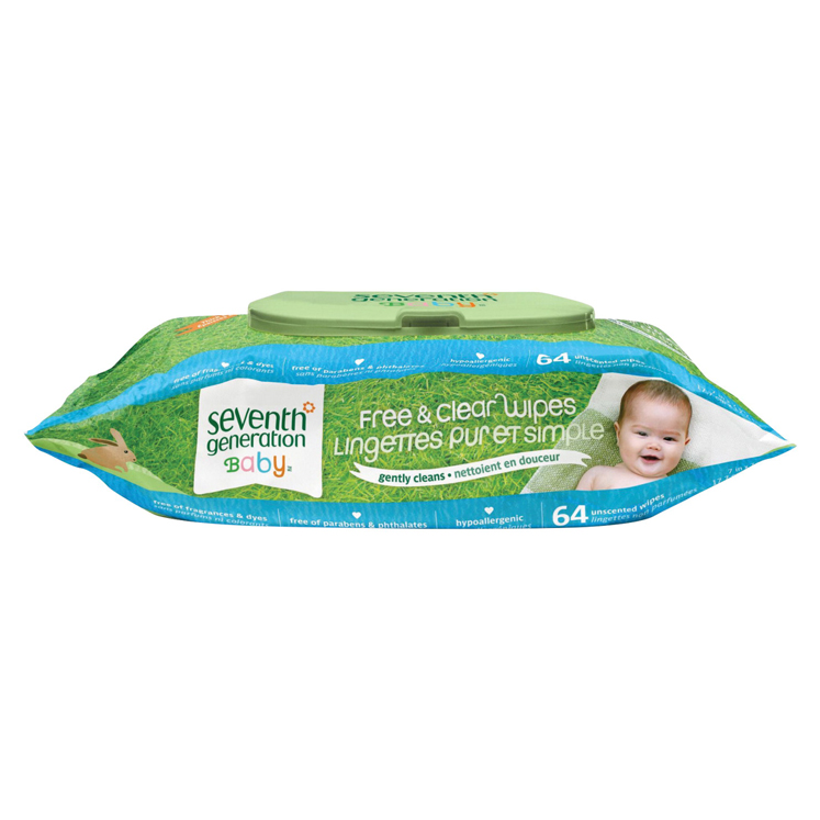 Seventh Generation Hypoallergenic Natural Baby Wipes - Pack of 64