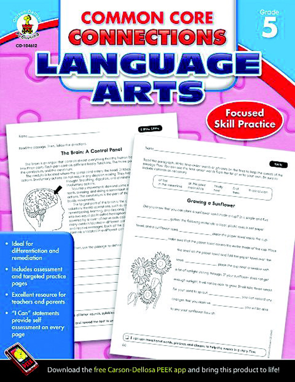 Common Core Connections Language Arts Workbook, Grade 5 - 96 Pages