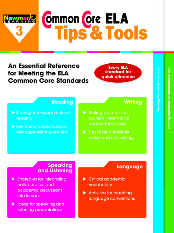 Newmark Common Core ELA Tips and Tools Booklet, from Grades 3 - 8