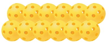 Balls - Plastic - Softball - Yellow - Set of 12