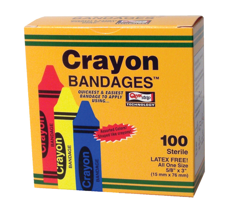 School Health Bandages, Latex Free, Crayon design - Box of 100