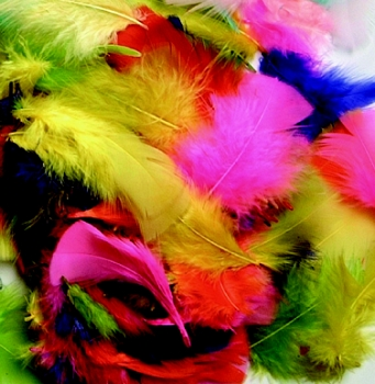 Chenille Kraft Non-Toxic Plumage Feather - Multiple Bright Color, 1/2 oz Bag
