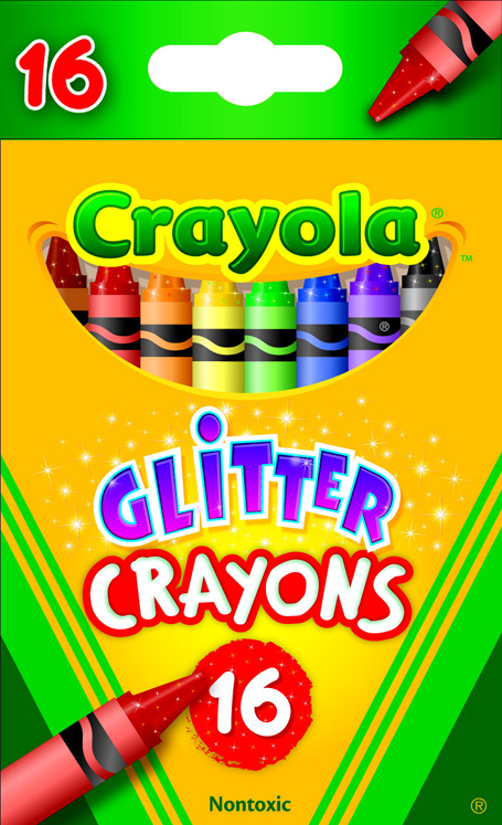 Crayola Non-Toxic Regular Glitter Crayon - Assorted Color - Pack of 16
