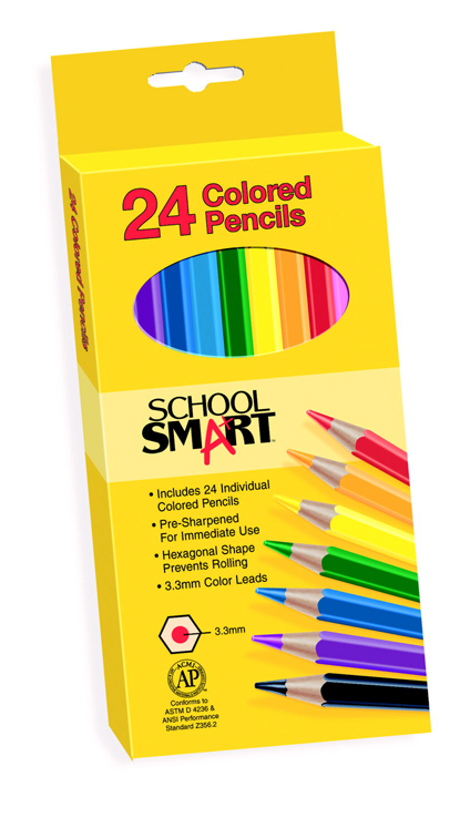 School Smart Non-Toxic Pre-Sharpened Waterproof Colored Pencil, 3.3 mm Thick Tip, 7