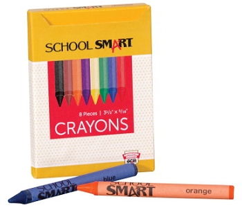 School Smart Non-Toxic Regular Crayon in Tuck Box - Assorted Color - Pack of 8
