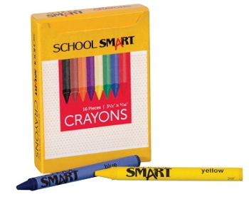 School Smart Non-Toxic Regular Crayon in Tuck Box - Assorted Color - Pack of 16