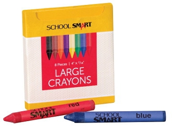 School Smart Large Non-Toxic Crayon in Tuck Box - Assorted Colors - Pack of 8