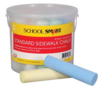 School Smart Non-Toxic Sidewalk Chalk - Assorted Colors - Pack of 20