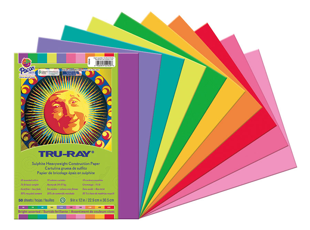 Tru-Ray 100% Vat Dyed Sulphite Acid-Free Non-Toxic Construction Paper - Color Choices - Pack of 50