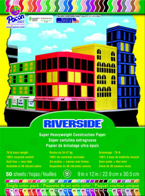 Riverside 100% Vat Dyed Groundwood Pulp Heavy Weight Recycled Construction Paper - Assorted Color - Pack of 50