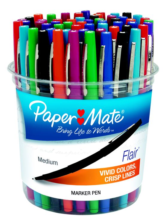Paper Mate Flair Acid-Free Fast Dry Non-Toxic Point Guard Pen Set, Felt Medium Tip - Assorted Colors - Set of 48