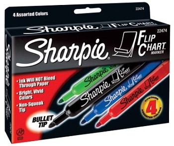 Sharpie Flip Chart Bold Odorless Marker, Bullet Tip - Assorted Color - Pack of 4