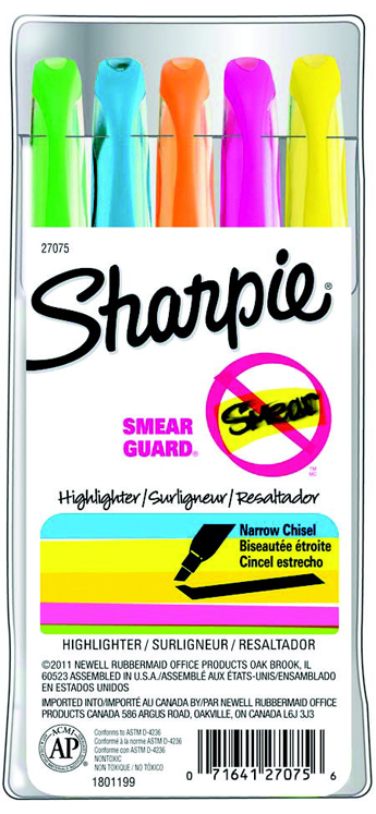 Sharpie Accent Smear Guard Non-Toxic Pocket Style Smear-Resistant Highlighter Set, Chisel-Narrow Tip - Assorted Color - Set of 5