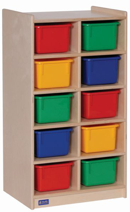 10-Tray Storage Unit with Multi-Colored Trays