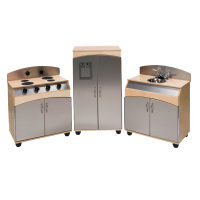 Three-Piece Stainless Steel Look Kitchen Appliances