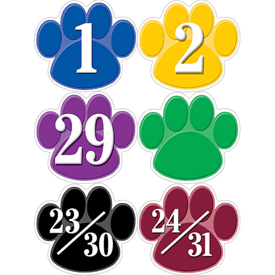 Colorful Paw Prints - Calendar Days Pieces